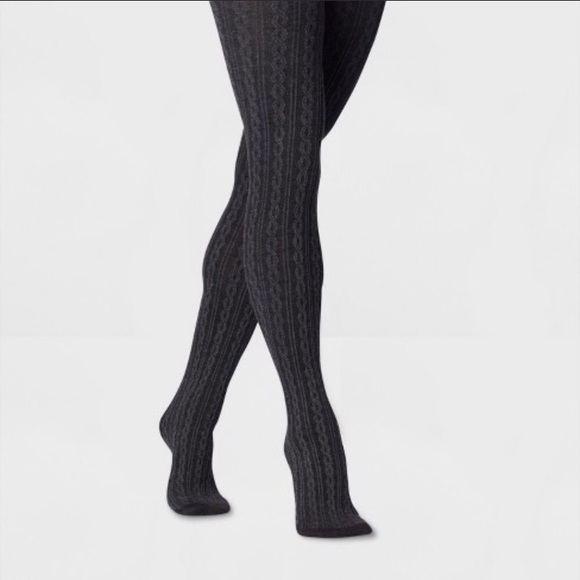 Gray cable knit tights